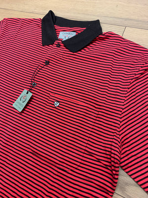 Carabou Stripe Polo Shirt - Red/Black - jjdonnelly