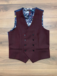Vichi Double Breasted Waistcoat - Napa Burgundy - jjdonnelly