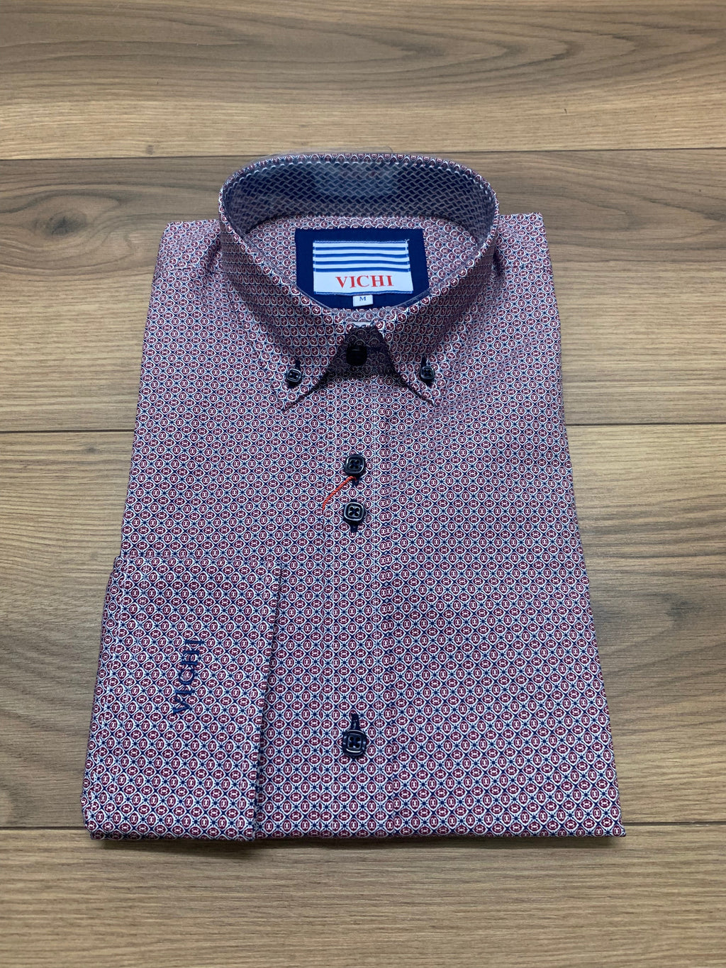 Vichi Tailored Fit Shirt - Red Pattern - jjdonnelly