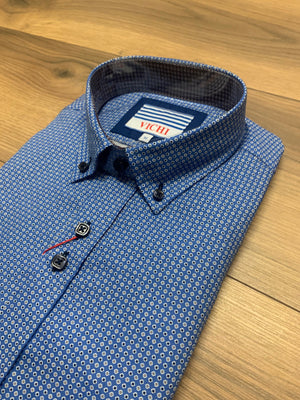 Vichi Tailored Fit Shirt - Blue Pattern 2 - jjdonnelly