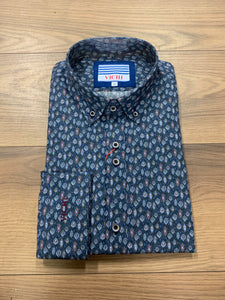 Vichi Tailored Fit Shirt - Navy Pattern - jjdonnelly