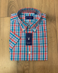 Carabou Half Sleeve Shirt - BL6 Blue/Red - jjdonnelly