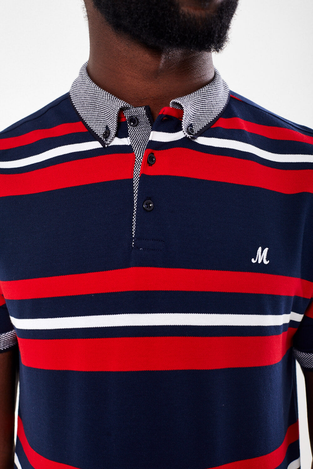 Mineral Stripe Polo - Dara Navy/Red - jjdonnelly
