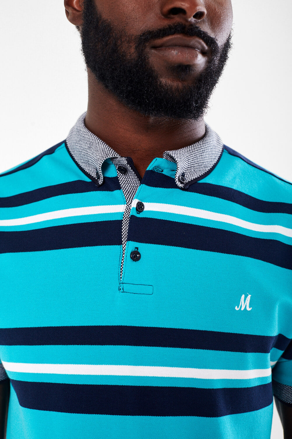 Mineral Stripe Polo - Dara Teal - jjdonnelly