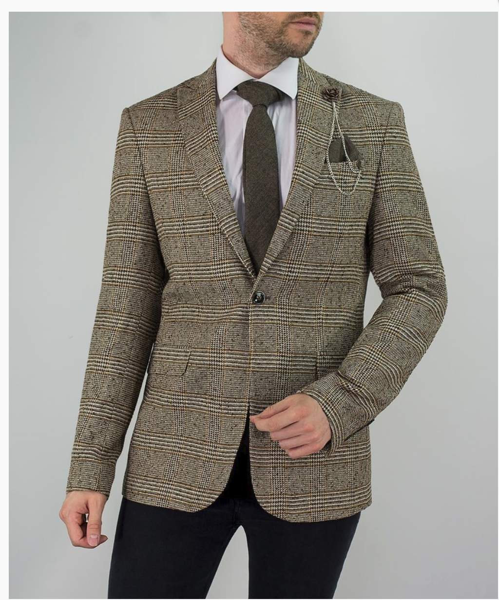 Cavani Dominic Tan Tweed Blazer - jjdonnelly