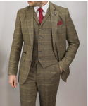 Cavani Albert 3 Piece Check Tweed Suit - Brown - jjdonnelly