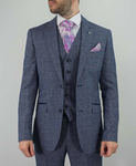 Cavani 3 Piece Check Suit - Swords Navy - jjdonnelly