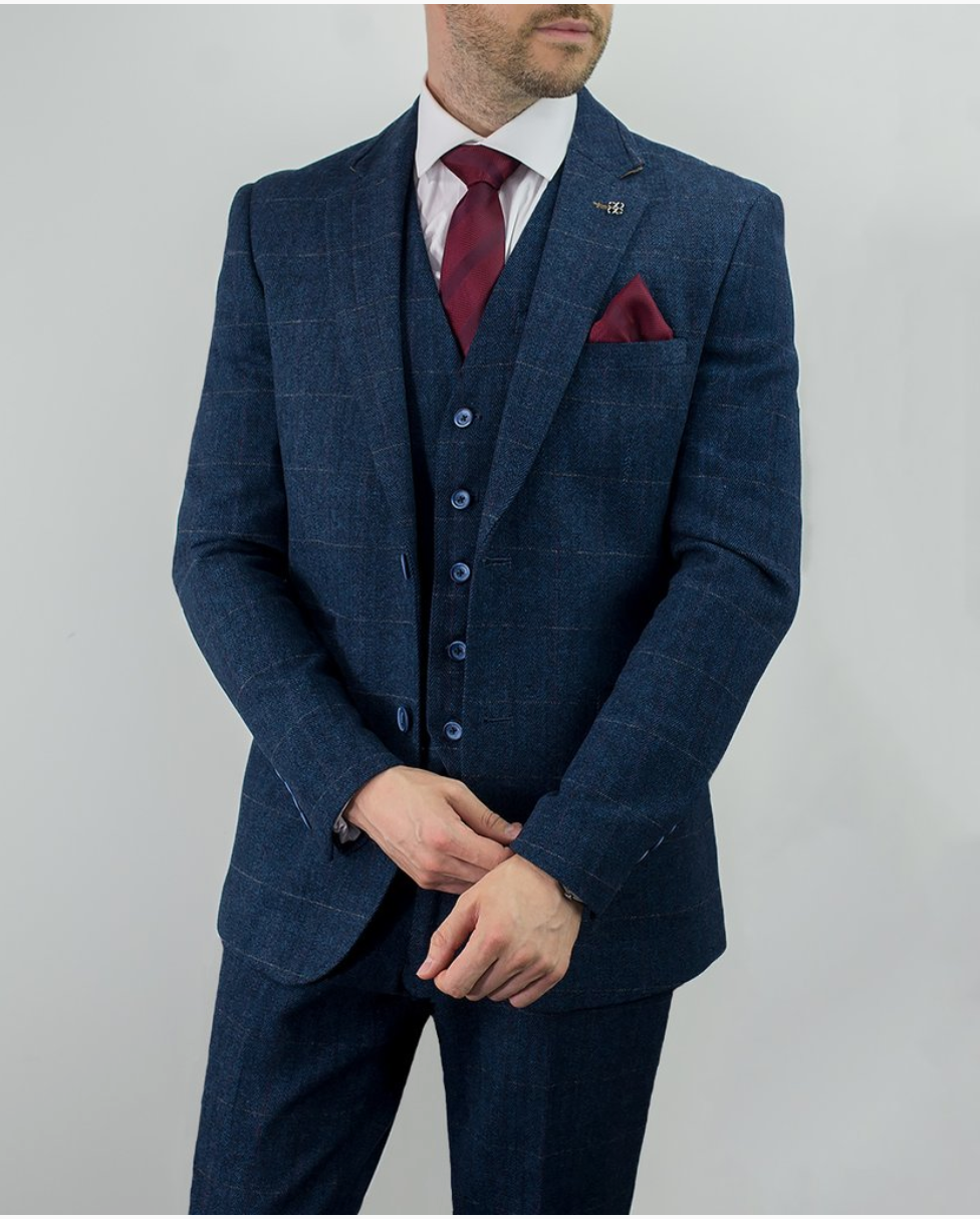 Cavani 3 Piece Check Tweed Suit - Carnegi Navy - jjdonnelly