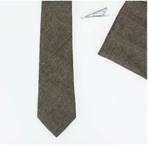 Cavani Martez Brown Tweed Tie Set - jjdonnelly