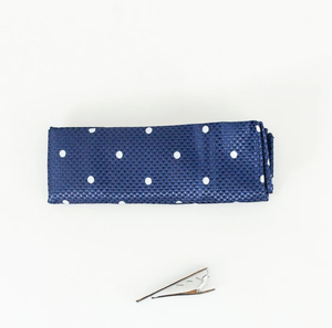 Cavani Knitted Tie Set - Navy Dot - jjdonnelly