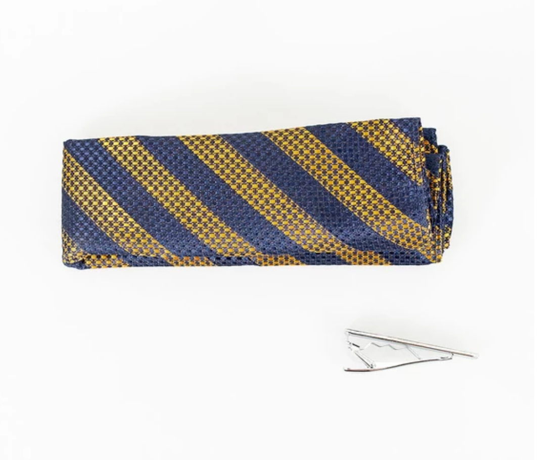 Cavani Knitted Tie Set - Navy/Mustard Stripe - jjdonnelly