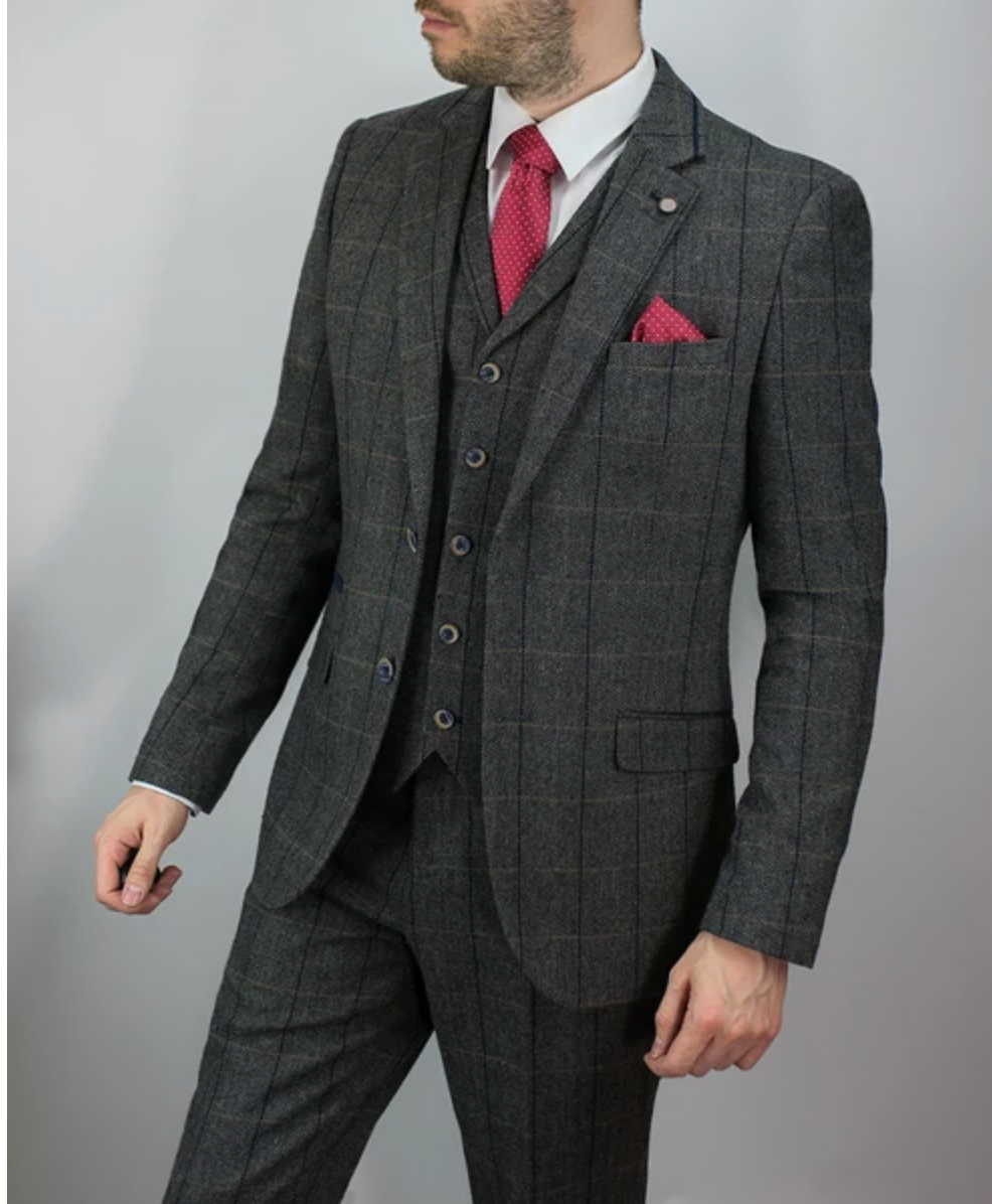Cavani 3 Piece Check Tweed Suit - Grey - jjdonnelly