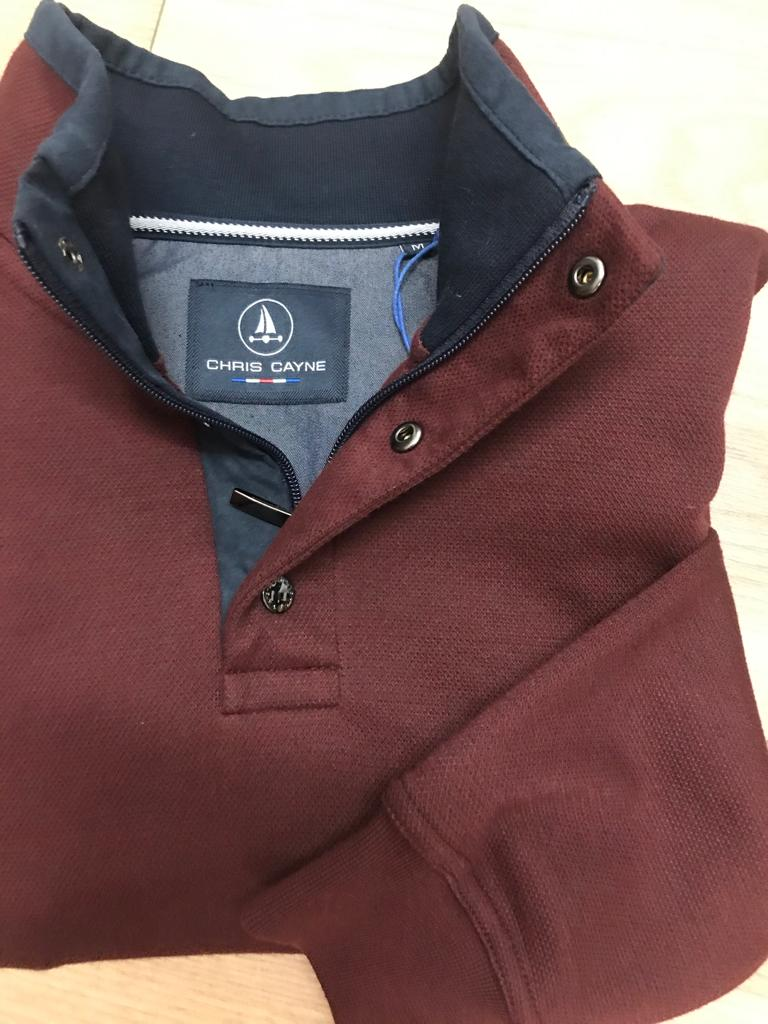 Chris Cayne Half Zip - Wine - jjdonnelly