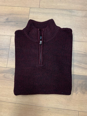 Kensington Half Zip Knitwear - Wine - jjdonnelly