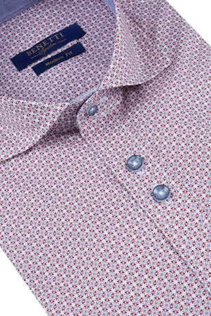 Benetti Modern Fit Alex Shirt - Wine - jjdonnelly