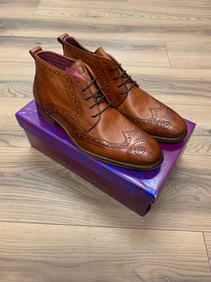 Brent Pope Timaru Brogue Boot - Cognac(Tan) - jjdonnelly