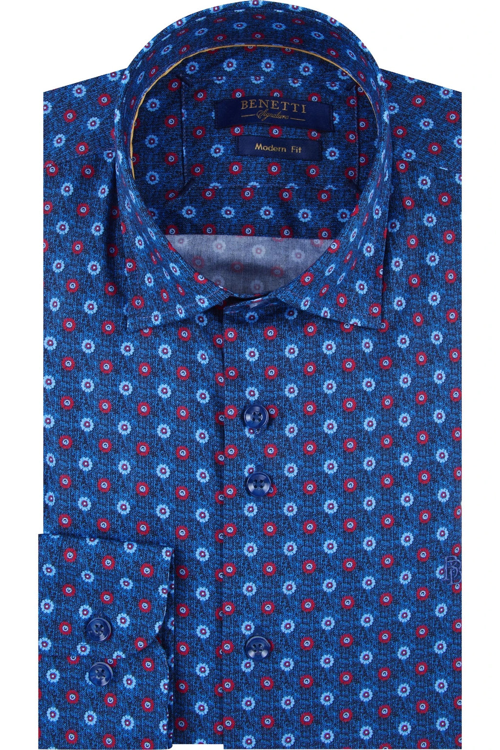 Benetti Modern Fit Noah Pattern Shirt - Red - jjdonnelly