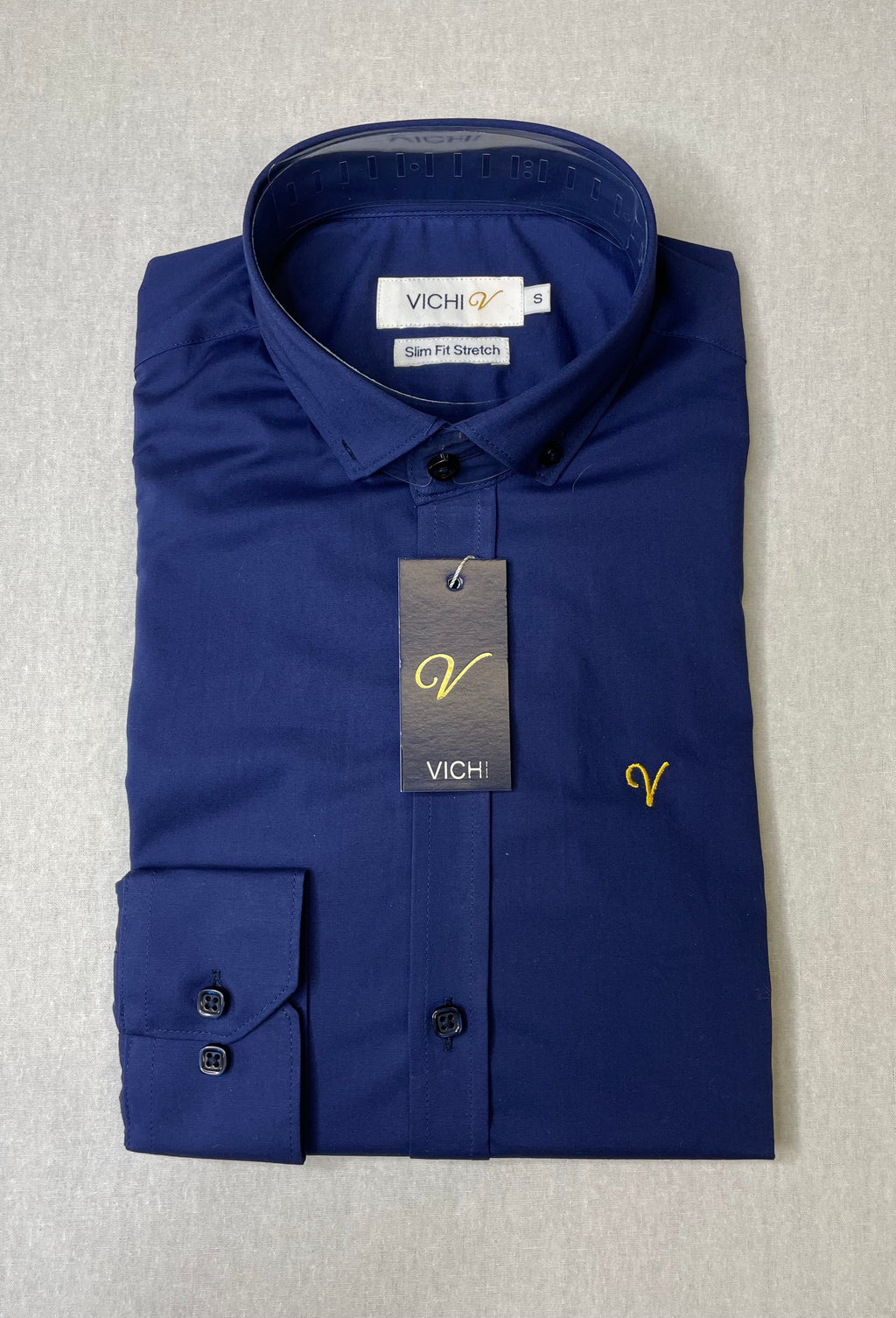 Vichi Slim Fit Stretch Shirt - Navy - JJ Donnelly