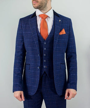 Cavan Kaiser Blue Check Tweed Style Suit - jjdonnelly