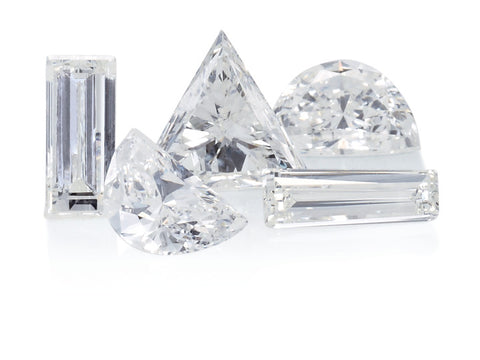 A variety of diamond cuts or shapes