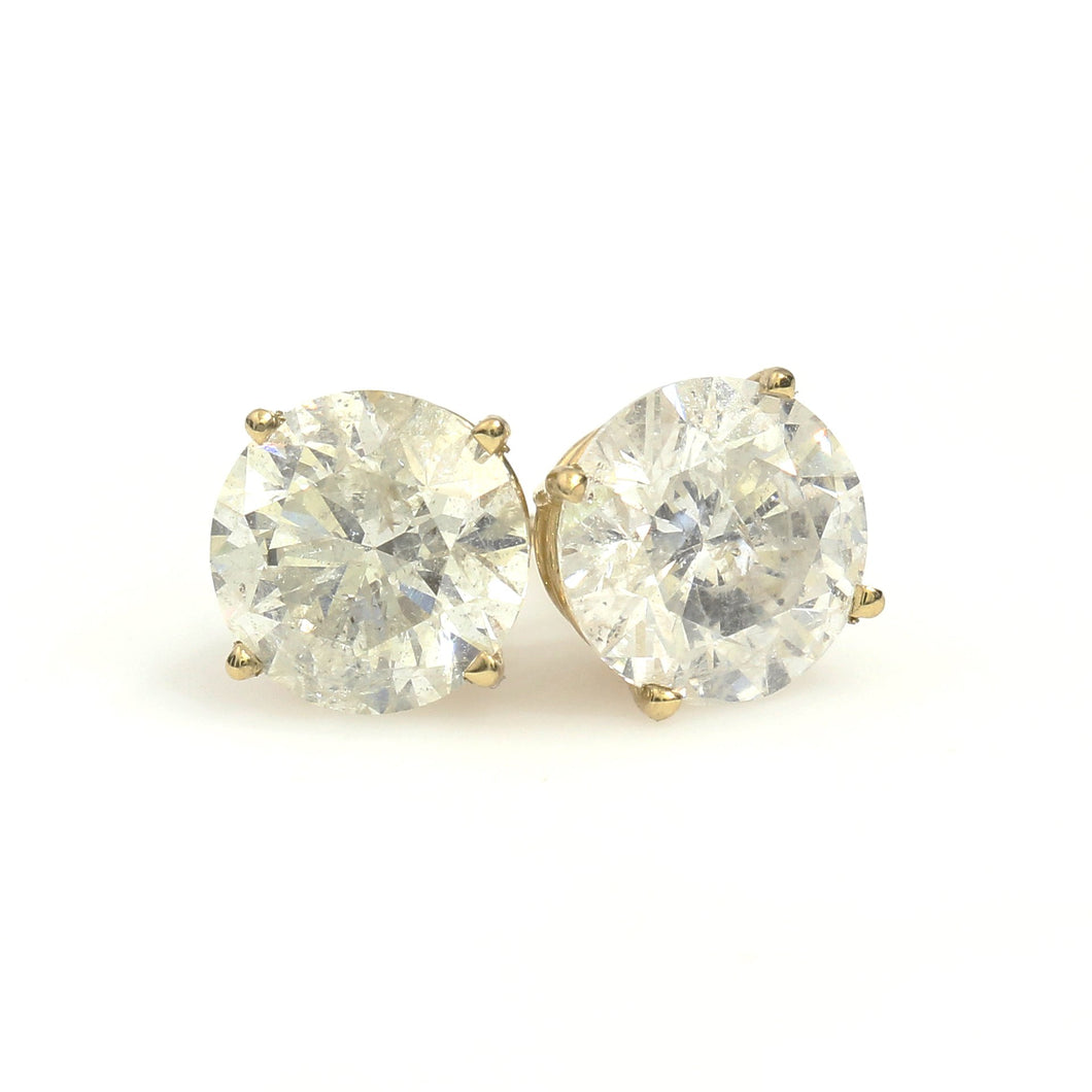 14K Yellow Gold Solitaire Earrings 5 Ctw