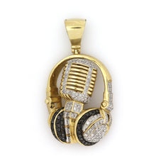 Load image into Gallery viewer, 10K Yellow Gold Headphones And Mic Pendant 1 Ctw