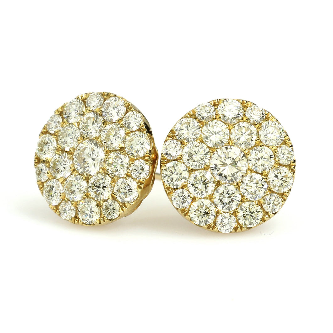 10K Yellow Gold Jumbo Cluster Earrings 2.7 Ctw