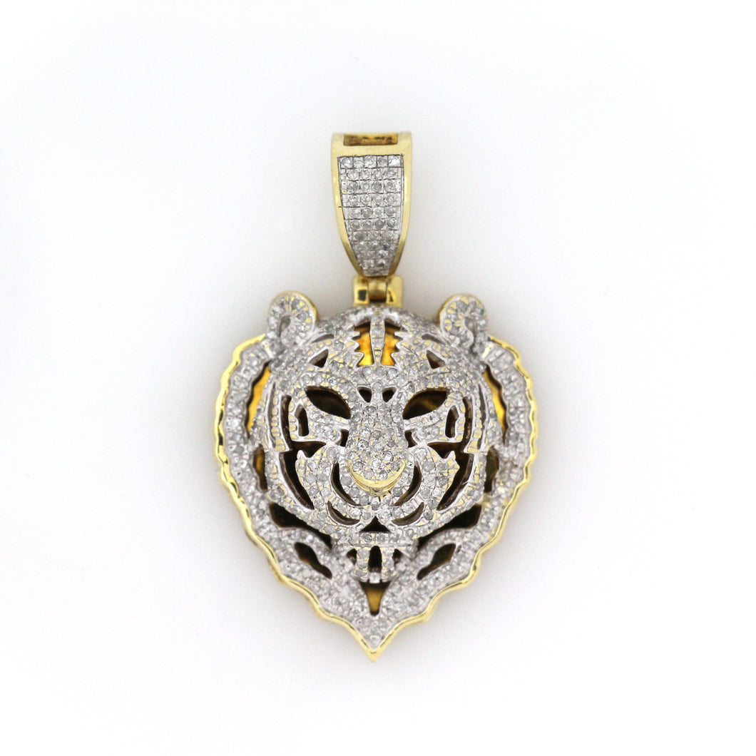 10K Yellow Gold Tiger Head Pendant 1 Ctw