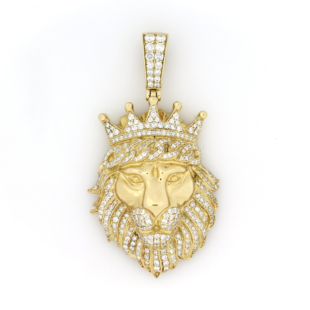 14K Yellow Gold Crowned Lion Pendant 2.25 Ctw
