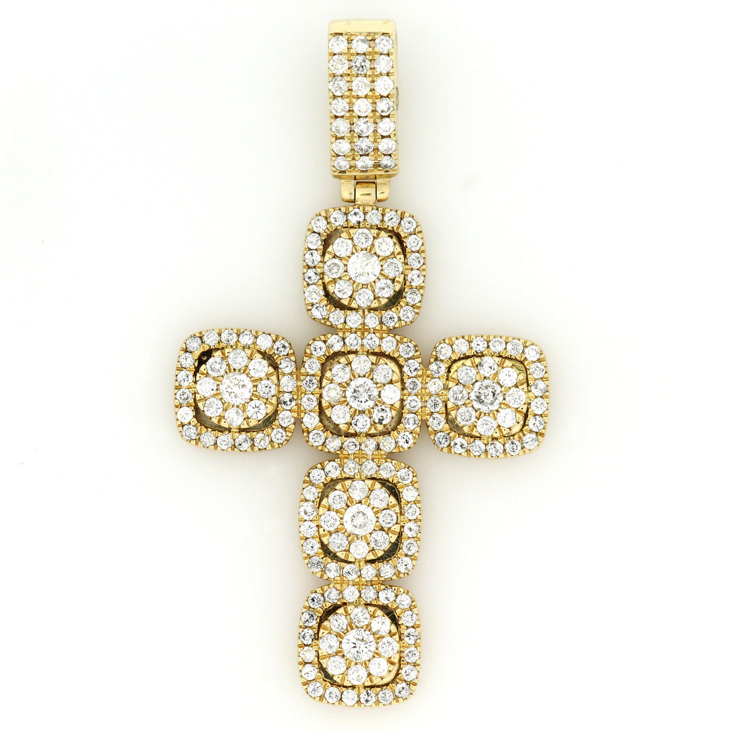 14K Yellow Gold Cluster Cross Pendant 2.5 Ctw