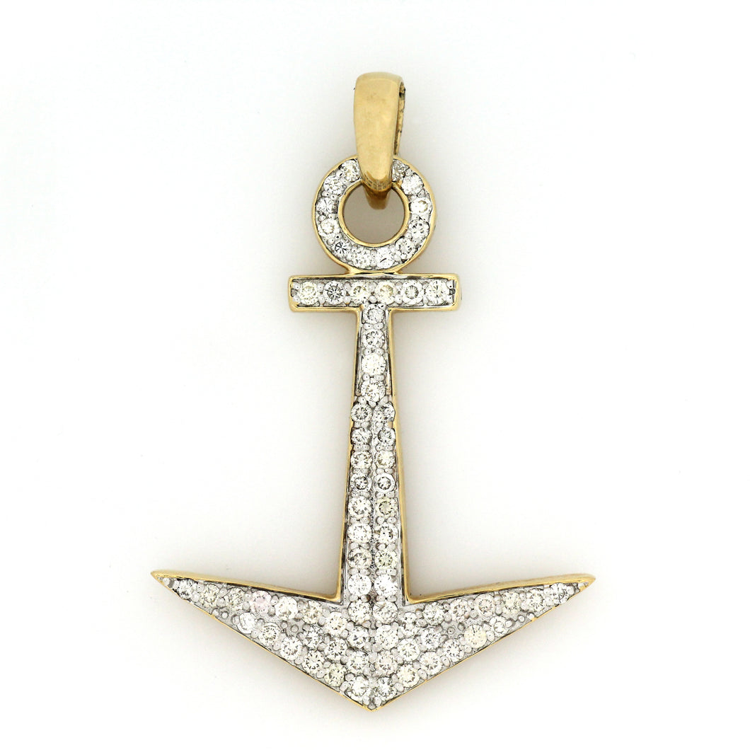 14K Yellow Gold Anchor Pendant 1.85 Ctw