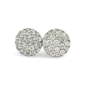 14K White Gold Round Cluster Earrings 0.55 Ctw
