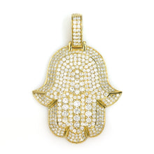 Load image into Gallery viewer, 10K Yellow Gold Hamsa Pendant 3.95 Ctw