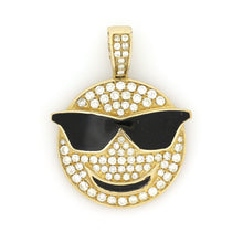 Load image into Gallery viewer, 10K Yellow Gold Cool Emoji Pendant 1.2 Ctw