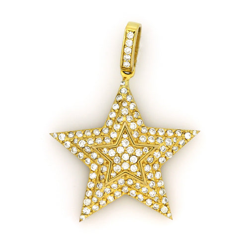 10K Yellow Gold Star Pendant 2.4 Ctw