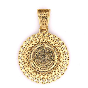 14K Yellow Gold Cuban Medallion Pendant 5.5 Ctw