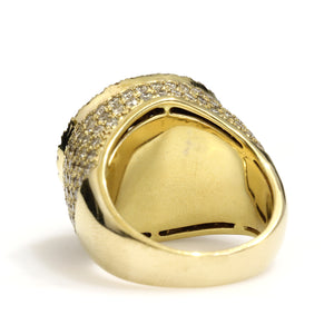 14K Yellow Gold Circle Pave Ring 5.75 Ctw