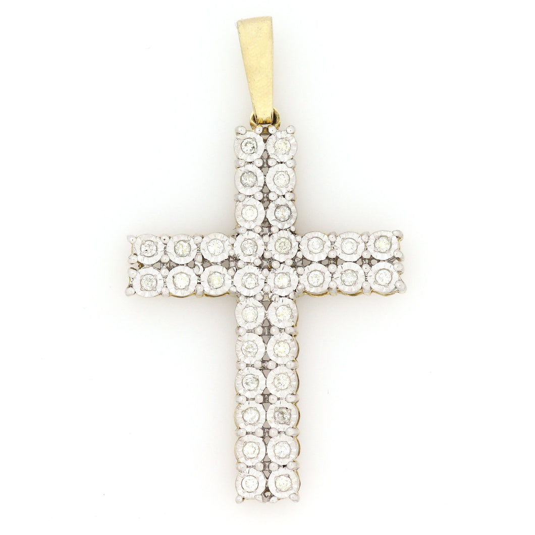 10K Two-Tone Gold Double Row Cross Pendant 0.45 Ctw