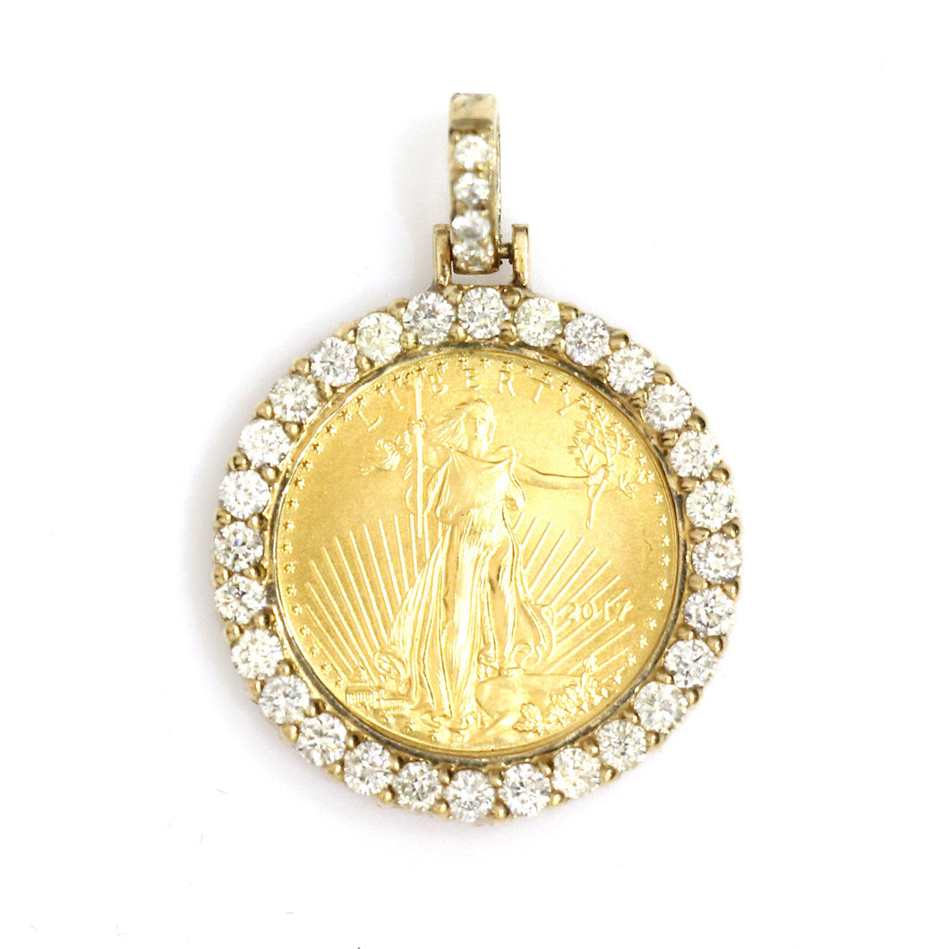 10K Yellow Gold 1/10 Oz Coin Pendant 0.9 Ctw