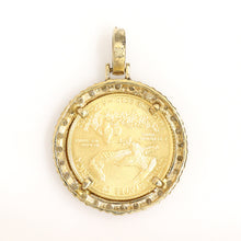 Load image into Gallery viewer, 10K Yellow Gold 1/10 Oz Coin Pendant 0.9 Ctw