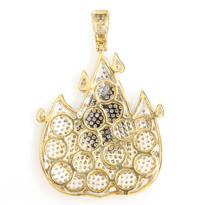 10K Yellow Gold Fire Emoji Pendant 1.6 Ctw