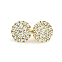 Load image into Gallery viewer, 10K Yellow Gold Round Cluster Earrings 1.12 Ctw