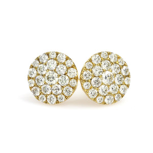 10K Yellow Gold Round Cluster Earrings 1.12 Ctw