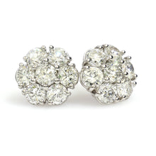 Load image into Gallery viewer, 14K White Gold Flower Cluster Earrings 3.1 Ctw