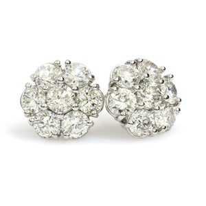 14K White Gold Flower Cluster Earrings 3.1 Ctw
