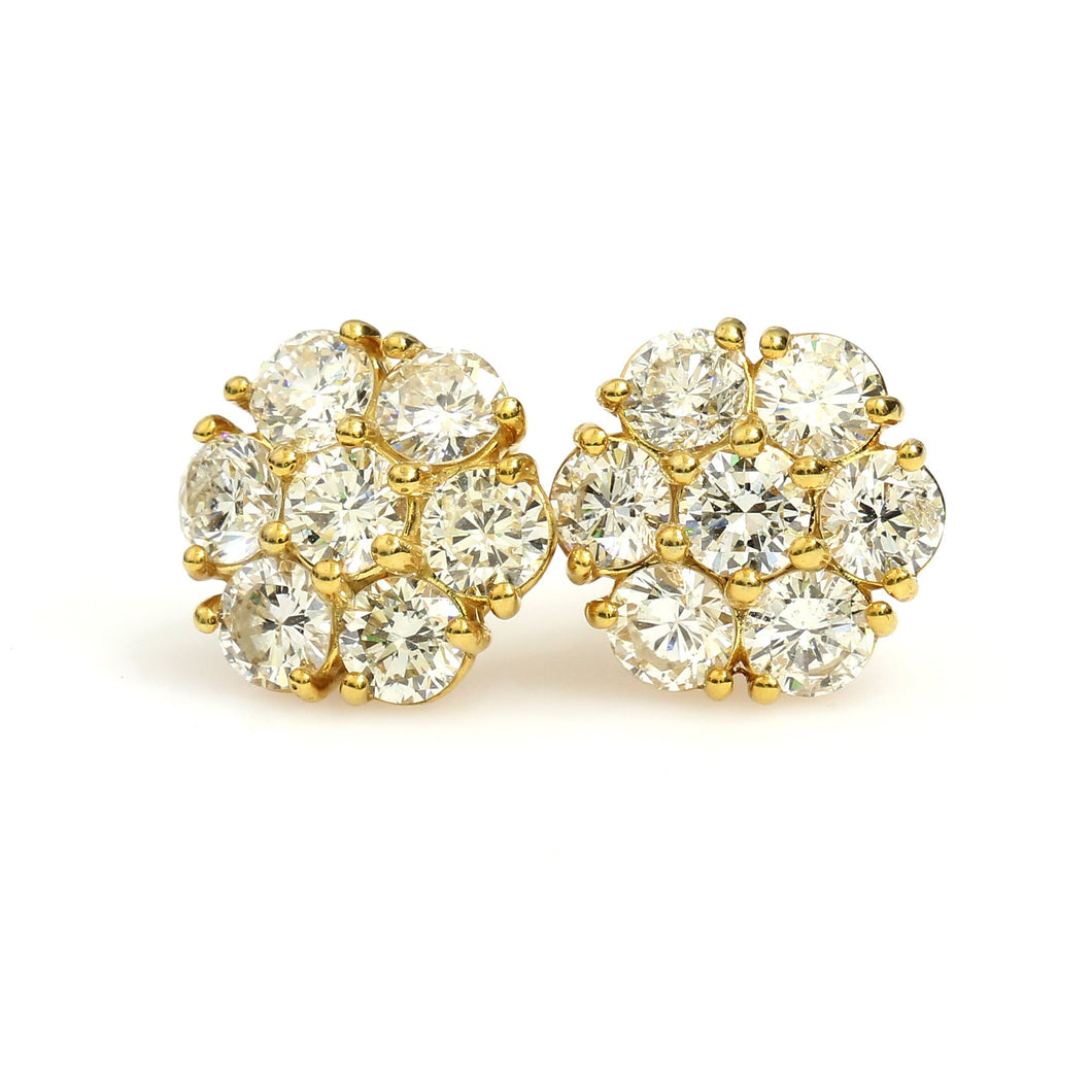 14K Yellow Gold Flower Cluster Earrings 3.12 Ctw
