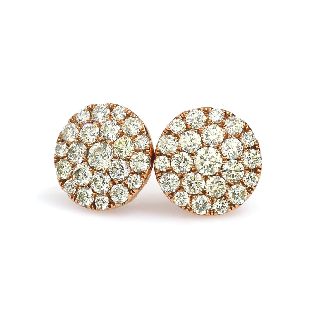 10K Rose Gold Round Cluster Earrings 1.12 Ctw