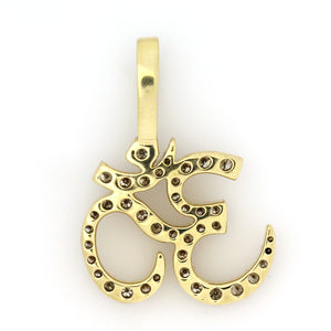 10K Yellow Gold Ohm Pendant 2.2 Ctw