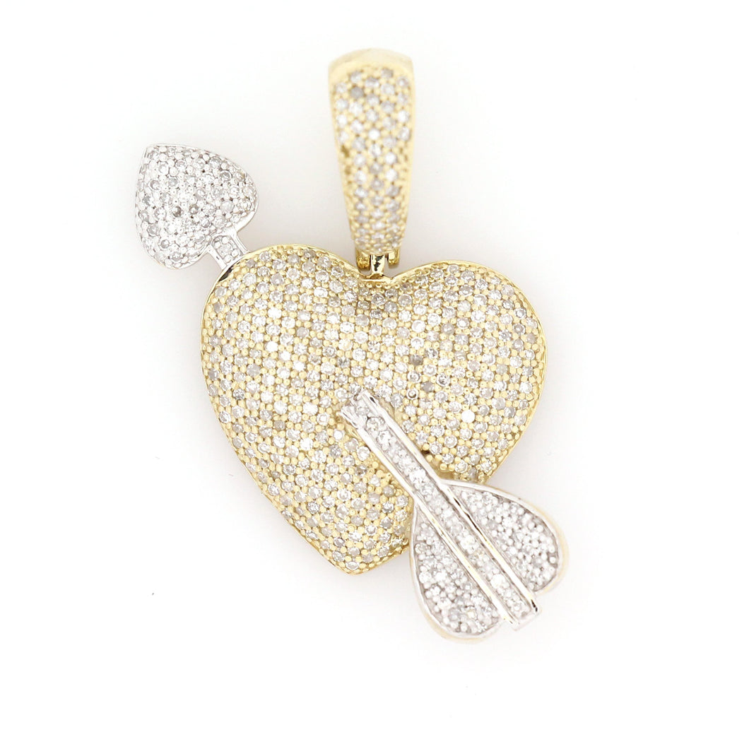 10K Two-Tone Gold Heart And Arrow Pendant 0.8 Ctw