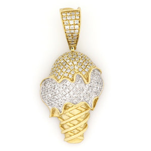 10K Two-Tone Gold Ice Cream Cone Pendant 0.75 Ctw